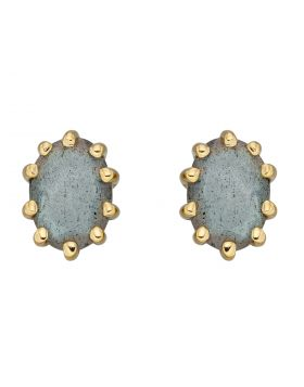 Blue Labradorite Gold Plated Stud Earrings (E5938H)