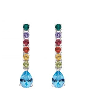 Rainbow CZ Teardrop Earrings (E5939)