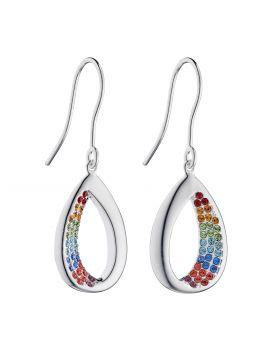 Open Teardrop Rainbow Earrings with Crystals (E5940)
