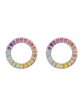 Open Round Stud Earrings with Rainbow Crystals (E5941)