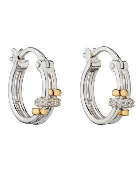 Connected Rings Hoop Earrings with Yellow Gold Plating and CZ Detail (E5957C)