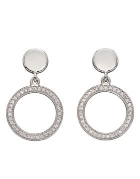 Double Disc with Channel Setting CZ Earrings (E5959C)
