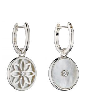 Double Sided Mother of Pearl and CZ Assembled Hoops (E5964)