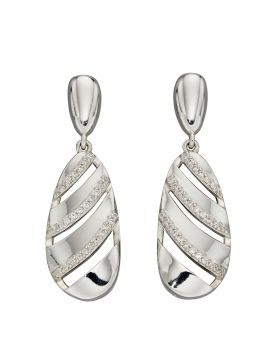 Sculptured Shapes Drop Earrings with CZ (E5967C)