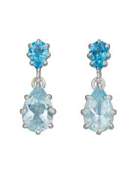 Blue Topaz Multi Prong Drop Earrings (E5972T)