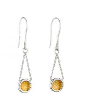 Hammered Disc Earrings with Yellow Gold Detail (E5974)