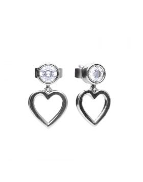 Open Heart Drop Earrings with Bezel Zirconia (E5977)