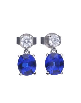 Oval Sapphire Drop Earrings (E5978)