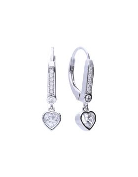 Hoop Earrings with Heart and Pave Detail (E5981)