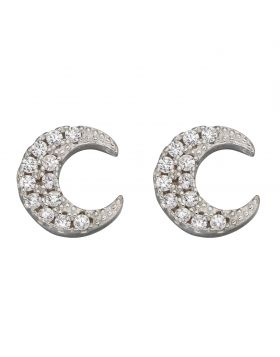Crescent Moon Stud Earrings with CZ (E5986C)