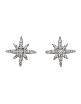 Pave Set CZ Starburst Stud Earrings (E5987C)