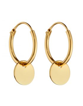 Small Yellow Gold Plated Disc Assembled Hoop Earrings (E5992)