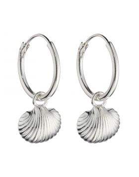 Small Shell Charm Assembled Hoop Earrings (E6000)