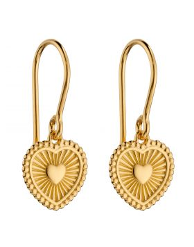 Yellow Gold Plated Sunray Texture Heart Drop Earrings (E6001)