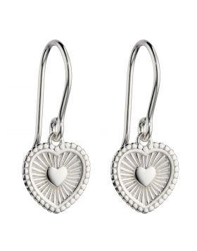 Sunray Texture Heart Drop Earrings (E6002)