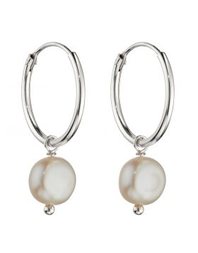 Freshwater Pearl Assembled Hoop Earrings (E6015W)
