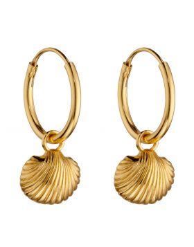 Yellow Gold Plated Sea Shell Assembled Hoop Earrings (E6045)