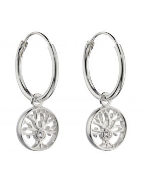 Tree of Life Assembled Hoop Earrings with CZ (E6046C)