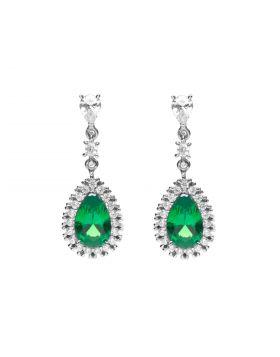 Green Diamonfire Zirconia Teardrop Earrings with Pave Surround (E6053)