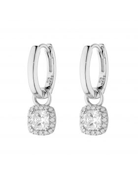 Assembled Hoop Earrings with Square Diamonfire Zirconia Halo Drop (E6061)