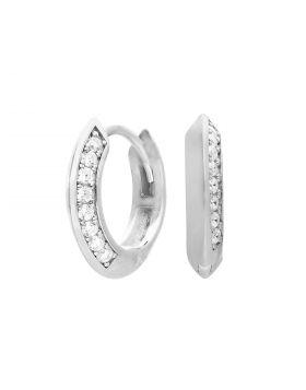 Pave Diamonfire Zirconia Creole Hoop Earrings with Apex Profile (E6062)