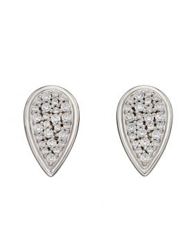 Pear Stud Earrings with Pave CZ (E6068C)