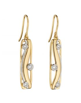Yellow Gold Plated Soft Rectangular Drop Earrings with CZ (E6070C)