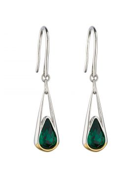 Elongated Drop Earrings with Emerald Crystal and Yellow Gold Plating (E6120G)