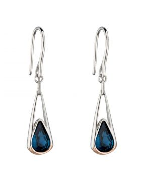 Elongated Drop Earrings with Montana Crystal and Rose Gold Plating (E6121L)
