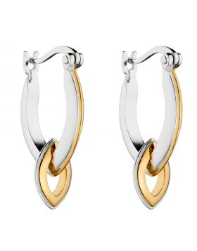 Knife Edge Navette Assembled Hoop Earrings with Yellow Gold Plating (E6122)