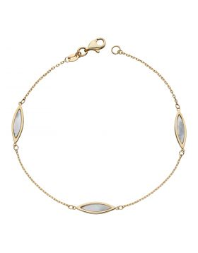 Navette Mother of Pearl Bracelet in Yellow Gold (GB500W)