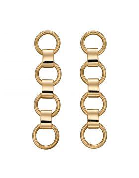 Circle Link Drop Earrings in Yellow Gold (GE2340)