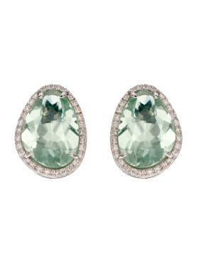 Green Fluorite and Diamond Earrings on White Gold (GE2341G)