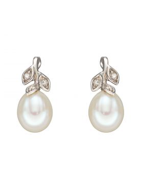 Pearl & Diamond Leaf Earrings in White Gold (GE2342W)