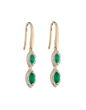 Marquise Drop Emerald Earrings in Yellow Gold (GE2343G)