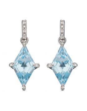 Kite Shape Blue Topaz Earrings in White Gold (GE2344T)