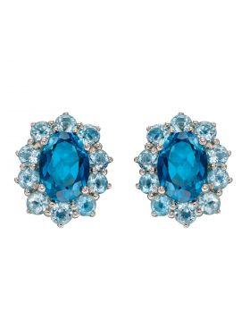 Blue Topaz Earrings in White Gold (GE2346T)