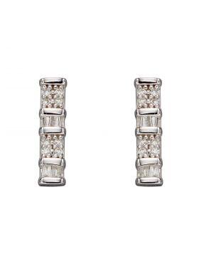 Baguette Bar Diamond Earrings in White Gold (GE2356)