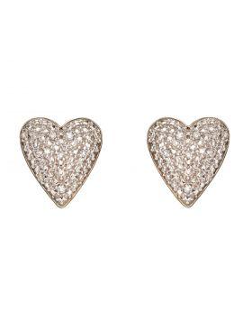 Diamond Pave Heart Earrings (GE2357)