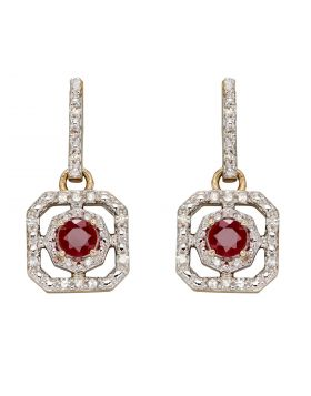 Ruby and Diamond Art Deco Earrings in Yellow Gold (GE2359R)