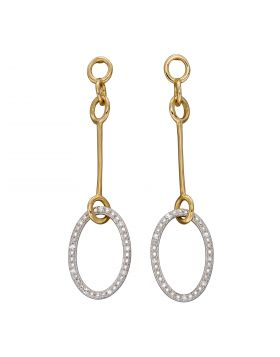 Oval Drop Bar Earrings with Diamonds in Yellow and White Gold (GE2380)