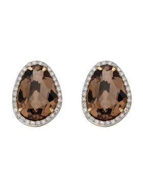 Irregular Shaped Smoky Quartz Earrings with Diamonds in Yellow Gold (GE2383Y)