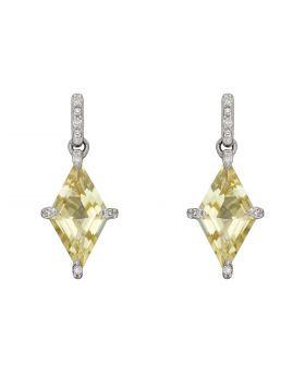 Kite Shaped Lemon Quartz Earrings in White Gold (GE2384Y)
