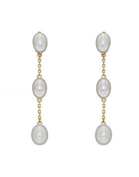 Fresh Water Pearl Tier Drop Earrings in Yellow Gold (GE2388W)