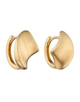 Concave Organic Huggie Hoop Earrings in Yellow Gold (GE2391)
