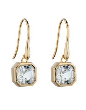 Asscher Cut White Topaz Drop Earrings in Yellow Gold (GE2392C)