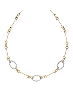 Oval Bar Necklace with Diamonds in Yellow and White Gold (GN355)