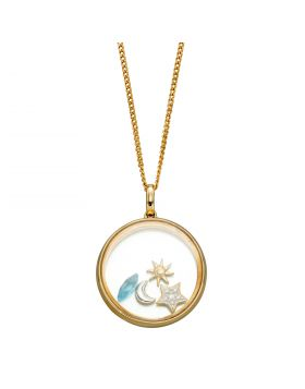Floating Pendant with 4 Astrological Charms in Yellow Gold (GP2244T)