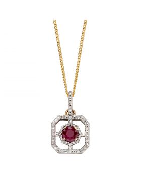 Ruby and Diamond Art Deco Pendant in Yellow Gold (GP2256R)