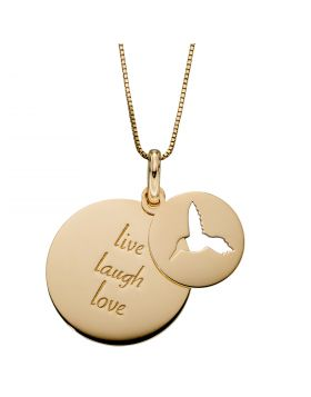 Two Disc Cut out Humming Bird and Engraved 'Live Laugh Love' Pendant in Yellow Gold (GP2268)